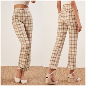 NEW Reformation Verano Check High Waist Ankle Pant